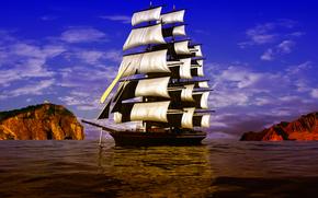 Navio, veleiro, antigo, 3d