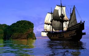 3d, antico, Nave, barca a vela