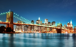Brooklyn bridge, night, New York, USA