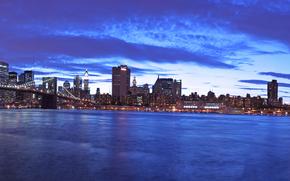 ponti, notte, New York, USA, panoramica