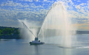 Stockholm, Sweden, Stockholm, Sweden, tow, water cannons, salute, FOUNTAIN, port