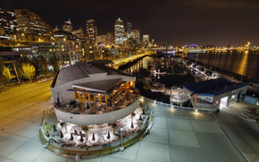 USA, Seattle, Downtown, Skyline, boats, Pier, restaurant, night