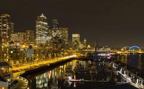 USA, Seattle, Downtown, Linea dell'orizzonte, barche, Molo, notte
