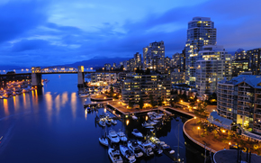 bridge, boats, night, cityscape, Vancouver, Canada