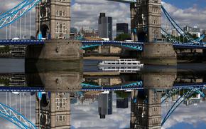 riflessione, Tower Bridge, londra, Gran Bretagna