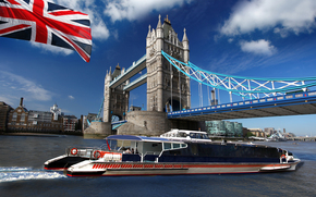 navio-motor, Tower Bridge, bandeira, Londres, Brit?nico, Gr?-Bretanha