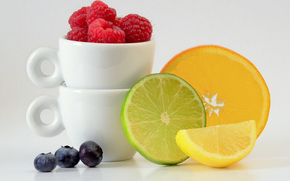 fruit, BERRY, citrus, raspberries, blueberry, Lemon, orange, lime, slices, Mugs, still life