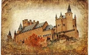 Alcazar castle, Segovia, Spain, vintage