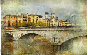 bridge, Girona, Spain, vintage