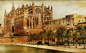 Mallorca cathedral, Palma de Mallorca, Spain, vintage