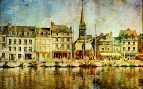 Honfleur town, Calvados department, France, vintage