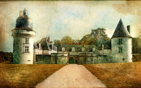 Le Gue-pean castle, Loir-et-Cher department, France, vintage