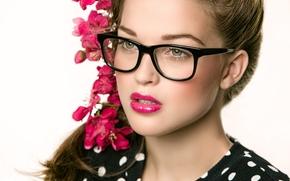 Michele Spengler, лицо, очки, цветы, портрет
