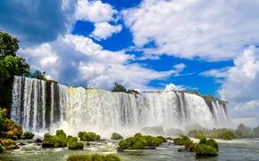 Водопад Игуасу, Бразилия, Brazil, водопад, Iguazu Falls, кочки, небо, облака