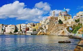 Costa, Ermoupolis, Isola di Syros, Grecia, panoramica