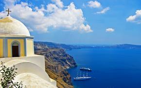 navi, caldera, Chiesa, Oia città, Santorini, Grecia