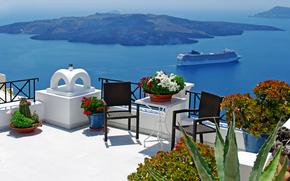 Ship, volcano, Oia town, Santorini island, Greece