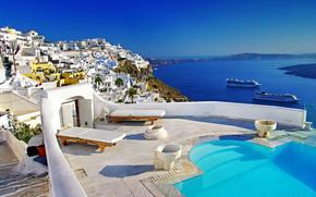 swimming pool, ships, caldera, Oia town, Santorini island, Greece