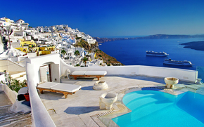piscina, navi, caldera, Oia città, Santorini, Grecia