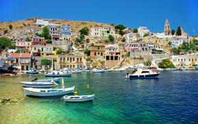 Coast, boats, Harbor, Symi island, Greece