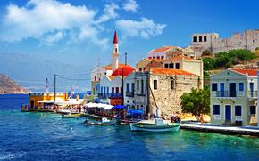 Costa, barche, Kasteloriso, Dodecanes, Grecia