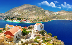 Coast, Bay, boats, Kastelorizo ​​island, Dodecanes, Greece