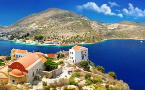 Coast, Bay, boats, Kastelorizo island, Dodecanes, Greece