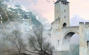 3d, ponte, Castello, nebbia, montagne, uccelli