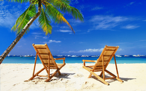sedie, spiaggia, palme, barche, Maldive