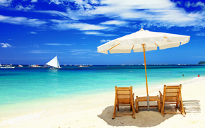 chairs, beach, umbrella, boats, Maldives