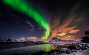 Aurora Borealis, Clouds, mountains, Lofoten Islands, norway