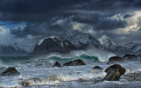 Wave, rocks, mountains, Lofoten Islands, norway