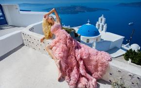 Oia, Santorini, Greece, Aegean Sea, Oia, Santorini, Greece, Aegean Sea, church, model, pose, dress, style, mood