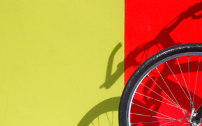 wall, yellow, red, shadow, bike, wheel
