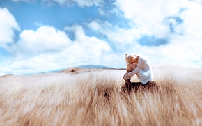 girl, mood, steppe, sky, clouds