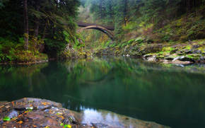 Moulton Falls Regional Park, Yacolt, Washington, Lewis River, Yakolt, Washington, Lewis River, Brücke, Fluss, Wald