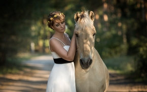 girl, dress, wreath, horse, horse, Friends, mood