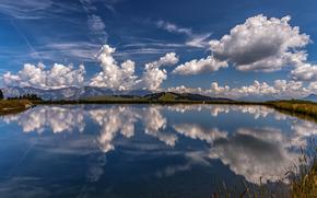 Hohe Salve, Alpi, Tirolo, Austria, Alpi, Tirolo, Austria, Montagne, lago, riflessione, nuvole