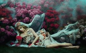 girl, model, bride, veil, mood, style, attire, Flowers, hydrangea