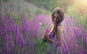 девушка, цветы, луг, настроение