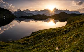 Fenetre lago, Gran San Bernardo, Alpi, Svizzera, Lago Fenetre, Gran San Bernardo, Alpi, Svizzera, lago, passare, Montagne, tramonto, panorama