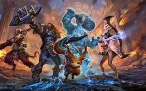 Smite, war, heroes, fantasy, weapons, magick, girl, monsters