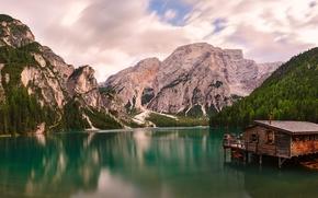 Dolomites, Alps, Italy, Dolomites, Alps, Italy, lake, Mountains, boat station, Boat