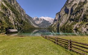 Lago Königssee, Alpi bavaresi, Baviera, Germania, Lago Konigssee, Alpi bavaresi, Bayern, Germania, lago, Montagne, steccato, steccato