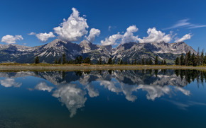 Wilder Kaiser, Kaiser Mountains, Alps, Tirol, Austria, Wilder Kaiser mountain range, Kaiser Mountains, Alps, Tyrol, Austria, lake, Mountains, reflection, clouds