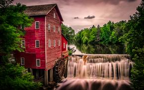 Dells Mill, Augusta, Wisconsin, Аугуста, Висконсин, водяная мельница, мельница, река, водопад