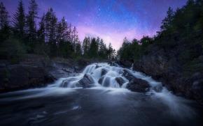Ringerike, norway, Ringerike, Norway, waterfall, cascade, river, starry sky, stones, trees