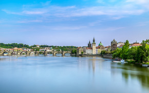 Prague, Czech Republic, Charles Bridge, Vltava river, Прага, Чехия, Карлов мост, река Влтава, река, мост