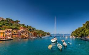 Portofino, Liguria, Itália, Mar da Ligúria, Portofino, Liguria, Itália, Mar da Ligúria, mar, porto, Iate, Barco, construção