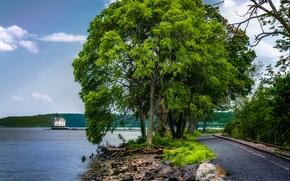 river, road, railroad, trees, lighthouse, landscape